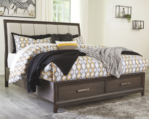 Brueban Rich Brown/Gray California King Panel Bed with Storage