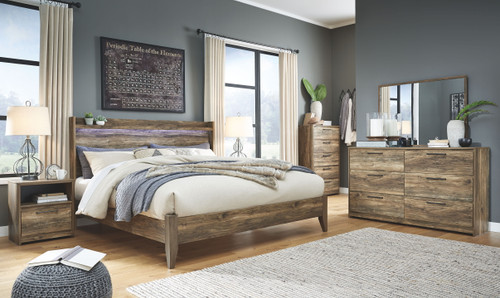 Rusthaven Brown King Panel Bed