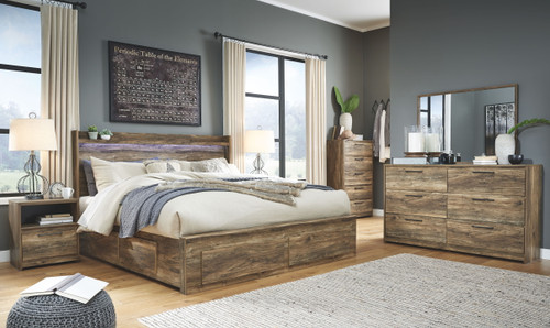 Rusthaven Brown King Panel Bed with Storage