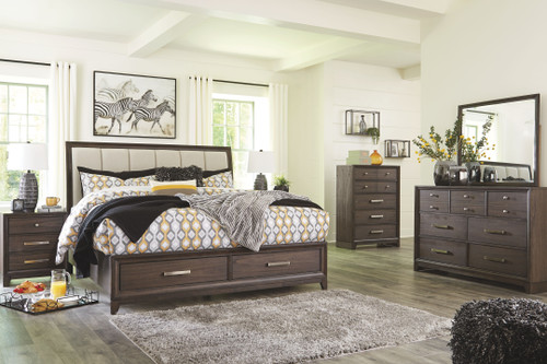 Brueban Rich Brown/Gray King Panel Bed with Storage