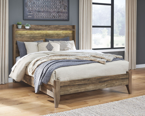Rusthaven Brown Queen Panel Bed