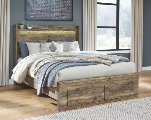 Rusthaven Brown Queen Storage Bed