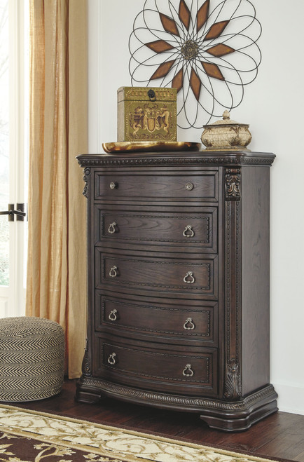 Wellsbrook Dark Brown Five Drawer Chest