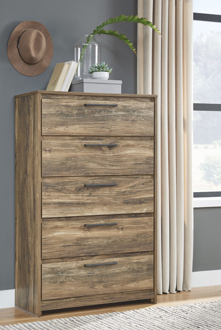 Rusthaven Brown Five Drawer Chest