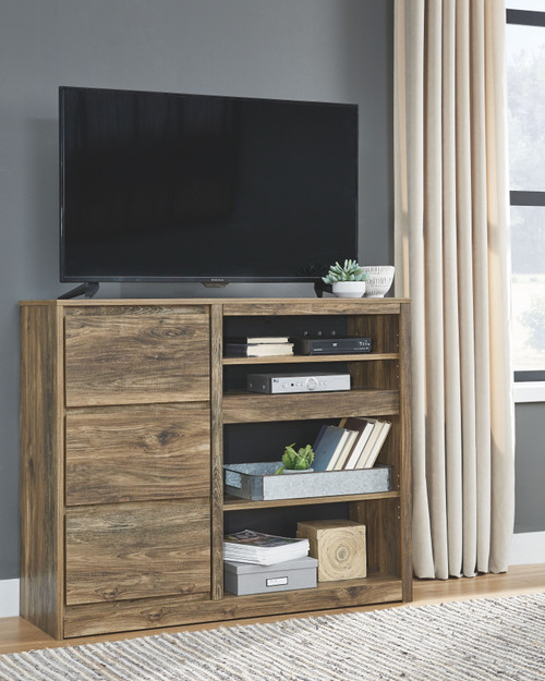 Rusthaven Brown Media Chest w/Fireplace Option