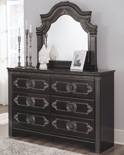Banalski Dark Brown Dresser & Mirror