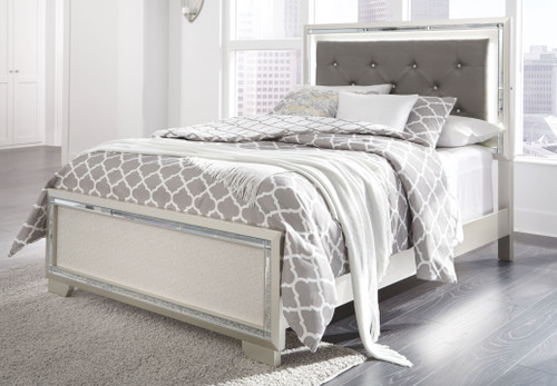 Lonnix Silver Finish Full Panel Bed