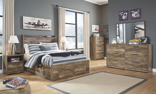 Rusthaven Brown Full Storage Bed