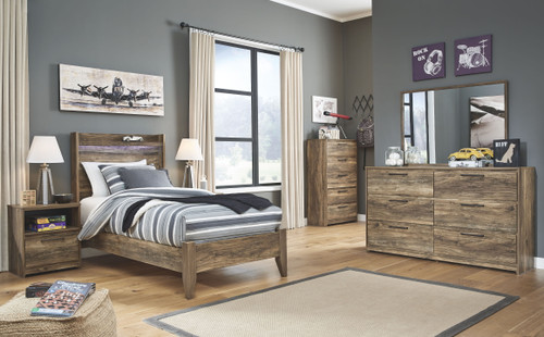 Rusthaven Brown Twin Panel Bed