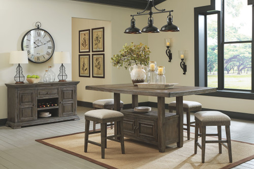 Wyndahl Rustic Brown 6 Pc. Rectangular Counter Table with Storage, 4 Upholstered Stools & Server