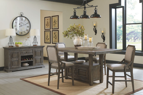 Wyndahl Rustic Brown 6 Pc. Rectangular Counter Table with Storage, 4 Upholstered Barstools & Server
