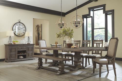 Wyndahl Rustic Brown 10 Pc. Rectangular Extension Table, 4 Upholstered Side Chairs, 2 Upholstered Side Chairs, Bench & Server