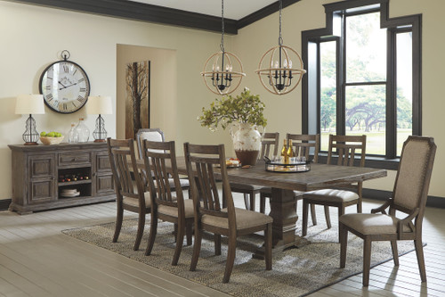 Wyndahl Rustic Brown 10 Pc. Rectangular Extension Table, 6 Upholstered Side Chairs & 2 Upholstered Side Chairs