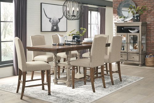 Lettner Gray/Brown 8 Pc. Rectangular DRM Counter Extension Table, 6 Upholstered Barstools & Curio