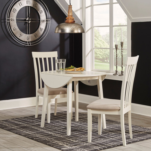Slannery White 3 Pc. Drop Leaf Table & 2 Side Chairs