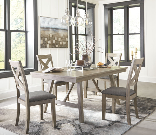 Aldwin Gray 5 Pc. Rectangular DRM Table & 4 Upholstered Side Chairs
