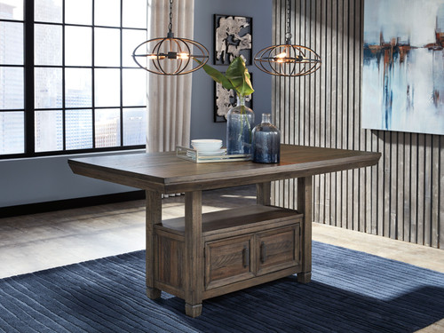 Johurst Grayish Brown Rectangular Dining Room Counter Table