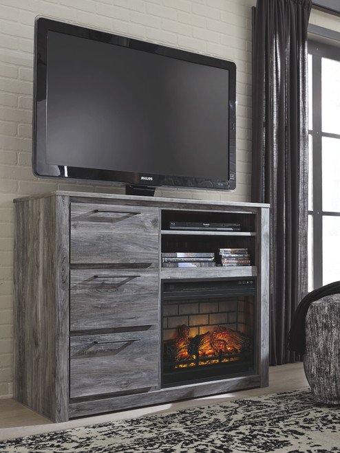 Baystorm Gray Media Chest with Fireplace Insert Infrared