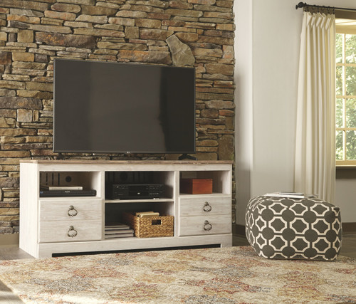Willowton Whitewash LG TV Stand with Fireplace Insert Infrared