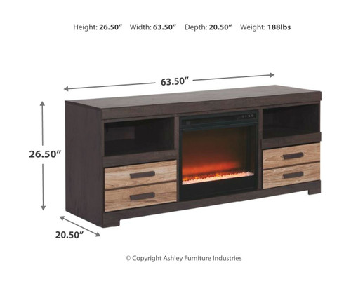 Harlinton Warm Gray LG TV Stand with Fireplace Insert Glass/Stone