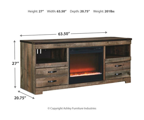 Trinell Brown LG TV Stand with Fireplace Insert Glass/Stone