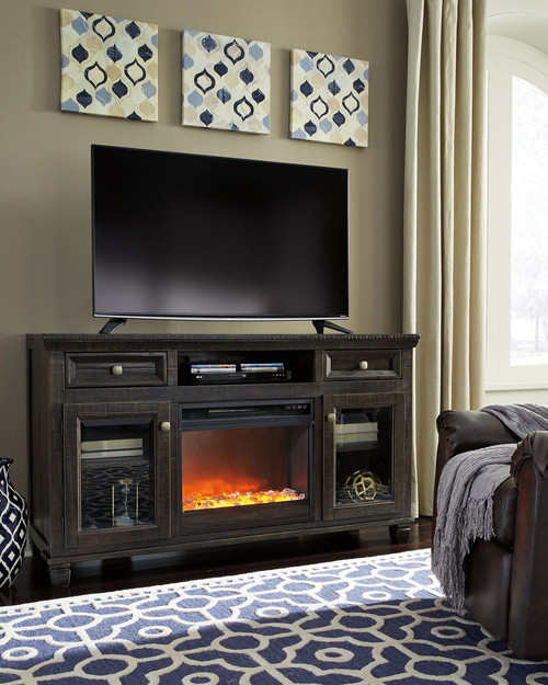 Townser Grayish Brown LG TV Stand with Fireplace Insert Glass/Stone
