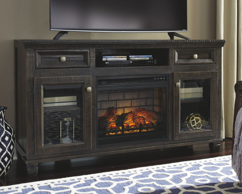 Townser Grayish Brown LG TV Stand with Fireplace Insert Infrared