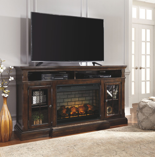 Roddinton Dark Brown XL TV Stand with LG Fireplace Insert Infrared