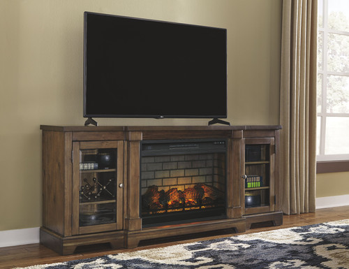 Flynnter Medium Brown XL TV Stand with LG Fireplace Insert Infrared