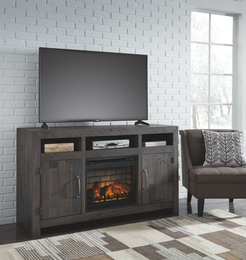 Mayflyn Charcoal LG TV Stand with Fireplace Insert Infrared