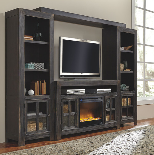 Gavelston Black Entertainment Center Large TV Stand, Left/Right Pier, Bridge with Fireplace Insert Glass/Stone