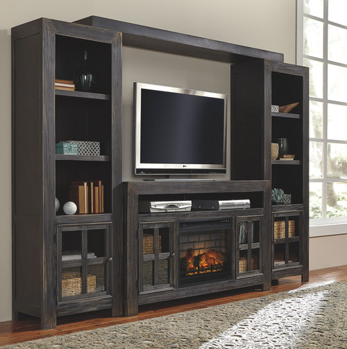 Gavelston Black Entertainment Center Large TV Stand, Left/Right Pier, Bridge with Fireplace Insert Infrared