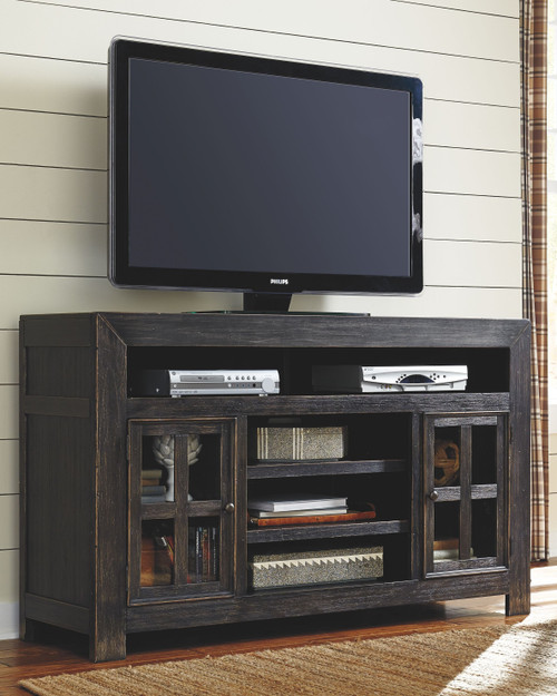 Gavelston Black LG TV Stand with Fireplace Insert Infrared