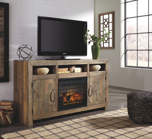 Sommerford Brown LG TV Stand with Fireplace Insert Glass/Stone