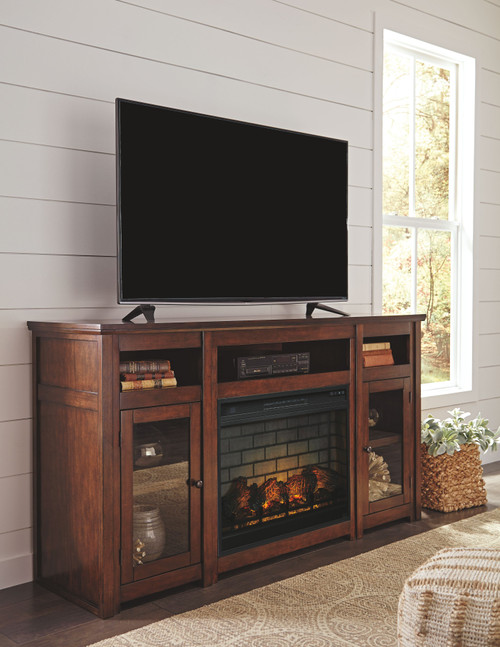 Harpan Reddish Brown XL TV Stand with LG Fireplace Insert Infrared