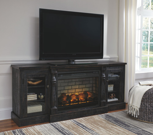Mallacar Black XL TV Stand with LG Fireplace Insert Infrared