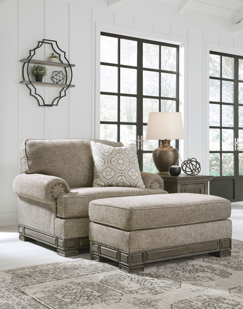 Einsgrove Sandstone Chair and a Half with Ottoman
