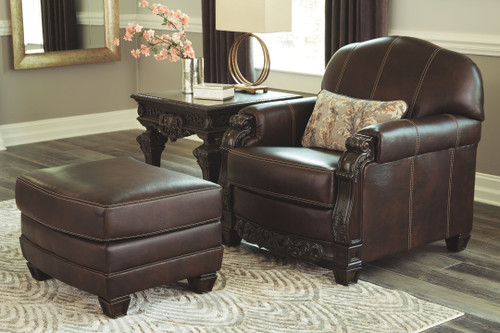 Embrook Chocolate Chair with Ottoman