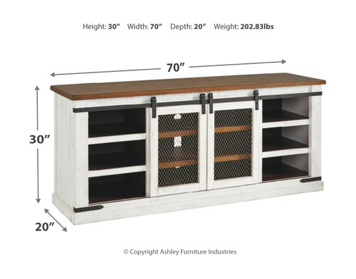 Wystfield White/Brown Extra Large TV Stand