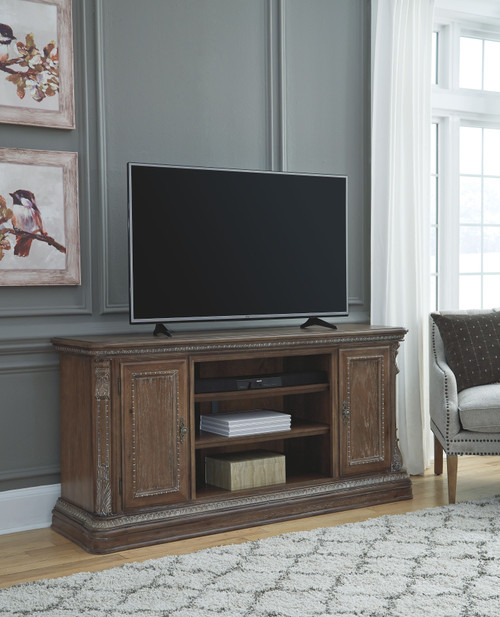 Charmond Brown XL TV Stand w/Fireplace Option