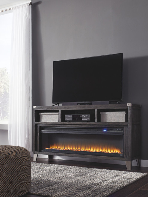 Todoe Gray 65 TV Stand with Electric Fireplace