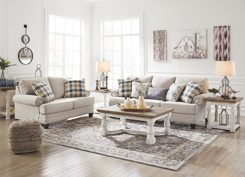 Meggett Linen Sofa/Couch, Loveseat, Havalance Cocktail Table, 2 End Tables & Sofa/Couch Table