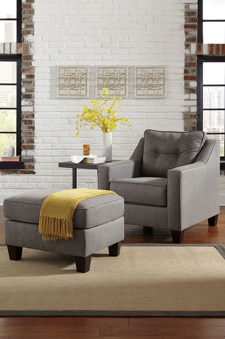 Brindon Charcoal Chair with Ottoman