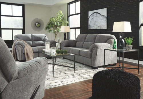 Allmaxx Pewter Sofa/Couch, Loveseat, Rocker Recliner & Augeron Table Set