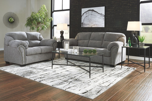 Allmaxx Pewter Sofa/Couch, Loveseat & Augeron Table Set