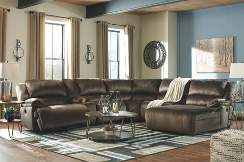 Clonmel Chocolate LAF Zero Wall Power Recliner, Console with Storage, Armless Recliner, Wedge, Armless Chair, RAF Press Back Power Chaise Sectional, Lettori Cocktail Table & 2 End Tables