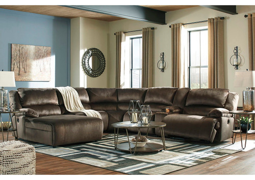Clonmel Chocolate LAF Press Back Power Chaise, Armless Chair, Wedge, Armless Recliner, Console with Storage, RAF Zero Wall Power Recliner Sectional, Lettori Cocktail Table & 2 End Tables