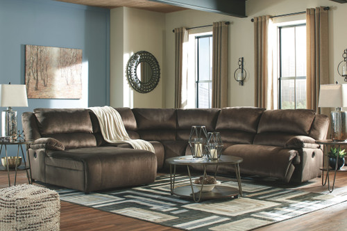 Clonmel Chocolate LAF Press Back Power Chaise, Armless Chair, Wedge, Armless Recliner, RAF Zero Wall Power Recliner Sectional, Lettori Cocktail Table & 2 End Tables