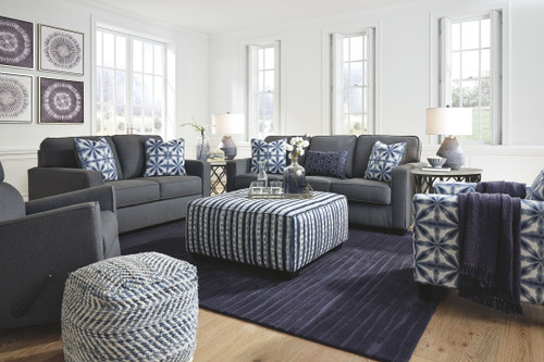 Kiessel Nuvella Steel Sofa, Loveseat, Rocker Recliner, Accent Chair, Accent Ottoman & 2 Trinson End Tables