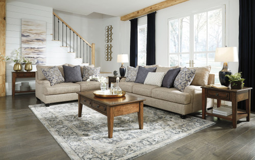 Reardon Stone Sofa, Loveseat, Adinton Cocktail Table, 2 End Tables & Sofa Table